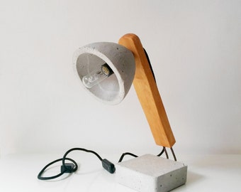 Concrete-wood table lamp