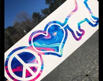 Peace Love Pets Logo Sticker Vinyl Decal Window Bumper Laptop Wall Glass Mug Skateboard Snowboard