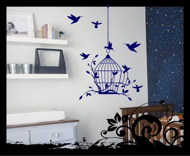 Bird Cage, Birds, Branches and Leaves  Vinyl / wall art / decal / sticker /  Children's Room Wall Decal / Living Room / Bedroom / Hummingbird
