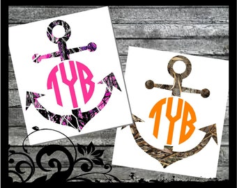 """5"""" tall Personalized Anchor """"Muddy Girl Camo, Pink Mossy Oak, Shadow Grass, Mossy Camo """" Monogram Decal - Initals; vinyl decals;car decal"""