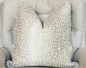 Vern Yip // Piping antelope pillow cover // fawn pillow cover // neutral decor // animal print decor // deer pillow // linen pillow