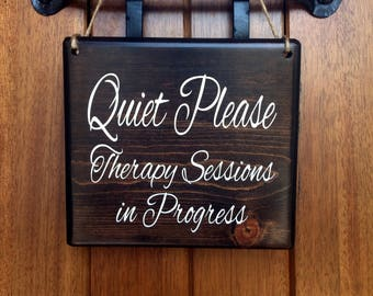 therapy door sign therapy sign therapy session sign in session sign do not disturb door sign do not disturb quiet please sign
