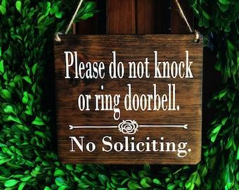 No Soliciting Sign | 7x8 | No Soliciting Door Sign | Do Not Disturb Sign | Do Not Ring Doorbell Sign | No Solicitation Signs | Door Signs |
