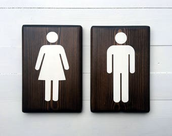 Bathroom Signs | Rustic bathroom decor | Bathroom wall decor | Restroom signs | bathroom wall signs | rustic decor | house warming gifts