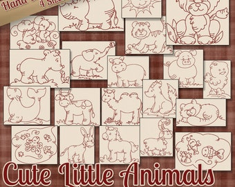 SALE Hand Embroidery Patterns Cute Little Animals in 4 Sizes PDF Instant Download 20 Designs for Children Babies Quilting Embroidery Designs
