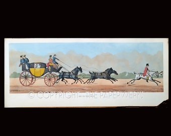 Coach and Horses lithograph 40s vintage Hand Colored Print Off to the Races