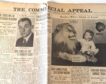 Vintage Newspaper The Commercial Appeal  Memphis, Tennessee  November 4th, 1937