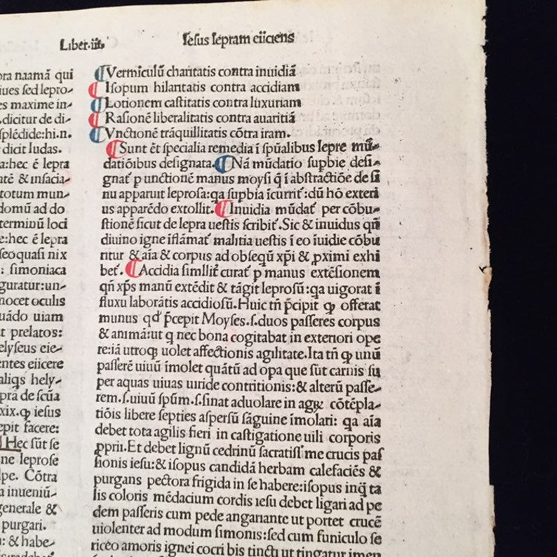 534 Yr Old  Incunable Leaf \u201cMeditation on The Passion of Jesus Christ\u201d by Andreas de Bonetis 1485 in Venice #986