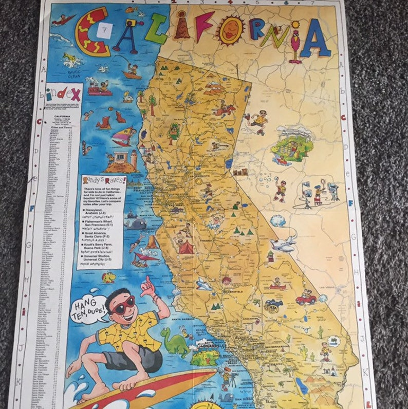 Cartoon Kids Map of California 1990 Points of Interest | Etsy on