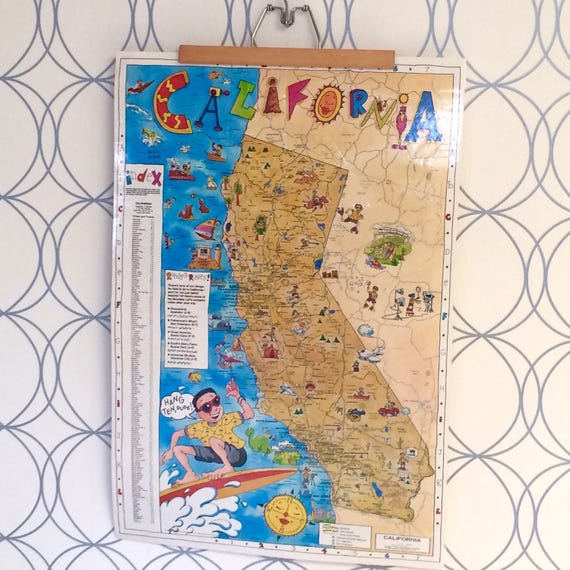California Map Cartoon.Cartoon Kids Map Of San California Points Of Interest Etsy