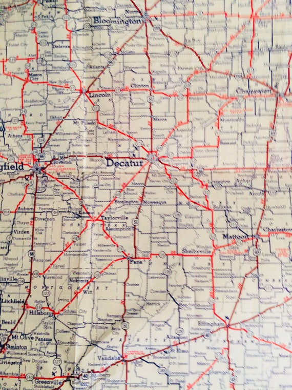 1930's Highway Map Illinois by Standard Oil Company of Indiana