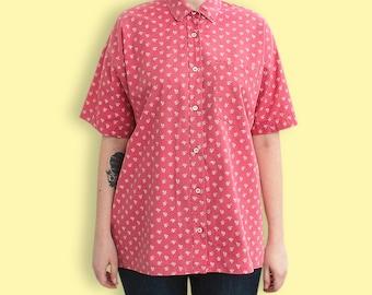 90s Ditsy Print Tomboy Shirt - Unisex Pink Daisies Print Shirt - Hipster Liberty Print Oxford Shirt - Grunge Flower Print Western Shirt 075ZqSuw1