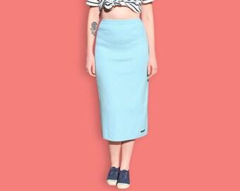 90s Maxi Skirt - Pastel Blue Sheath Skirt - Light Blue Preppy Nautical Skirt - Normcore Minimalist Column Skirt - Sportswear Casual Skirt