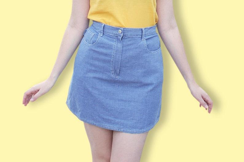 bbf2ea119 90s Grid Grunge Skirt Blue Jean Checked Skirt Mini | Etsy