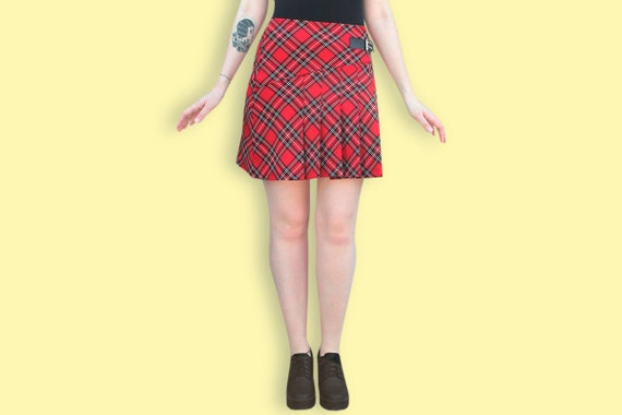 TARTAN SKATER MICRO MINI SKIRT  SCHOOL GIRL ALTERNATIVE KILT SIZE 8-10