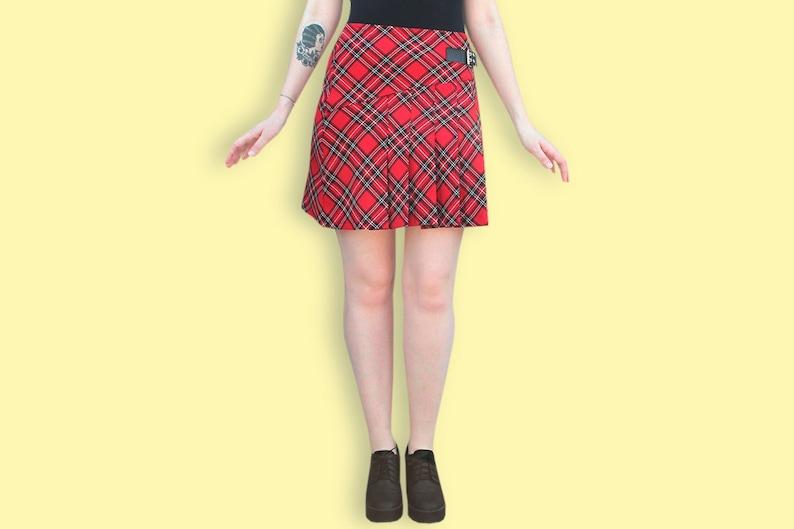 2932f9e27edd7 90s Red Tartan Skirt Mini School Girl Skirt Punk Plaid