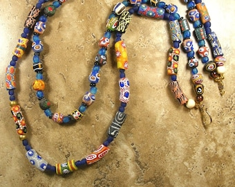 Long Krobo bead necklace with 2 strands of multi colored beads from Ghana with recycled glass beads - AN554