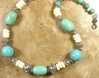 Turquoise Howlite and African bone disc necklace with silve tone spacers and hook closure - AN552