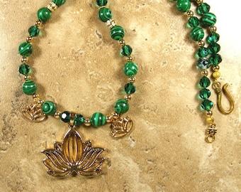 Lotus gold tone pendant on green Malachite and Swarovski crystal beads - AN556