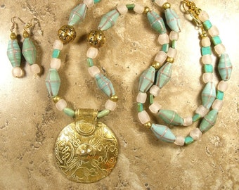 Long aqua and pink glass necklace with large gold tone pendant, Ghana beads, Java beads, Czech beads  - AN551 - AE257- AN551