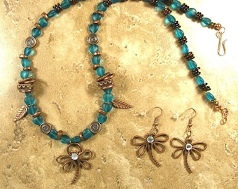 Dragonfly necklace with optional earrings. Necklace has aqua heart shaped glass beads with copper spacers - AN555 - AE255