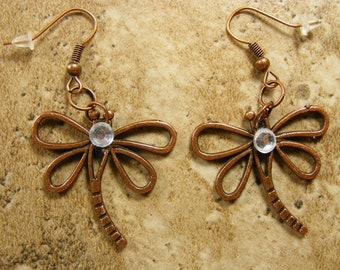 Dragonfly copper earrings with charms from Turkey - matches necklace - AE255