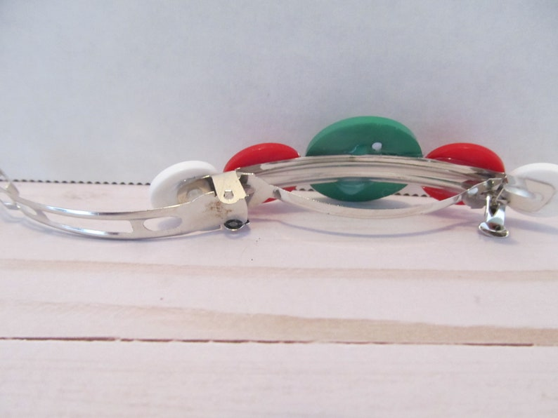 Christmas Barrette-Candy Cane Barrette-Button Barrette-Christmas Gifts-Stocking Stuffers-Hair Accessories-Hair Clip-Christmas Accessory