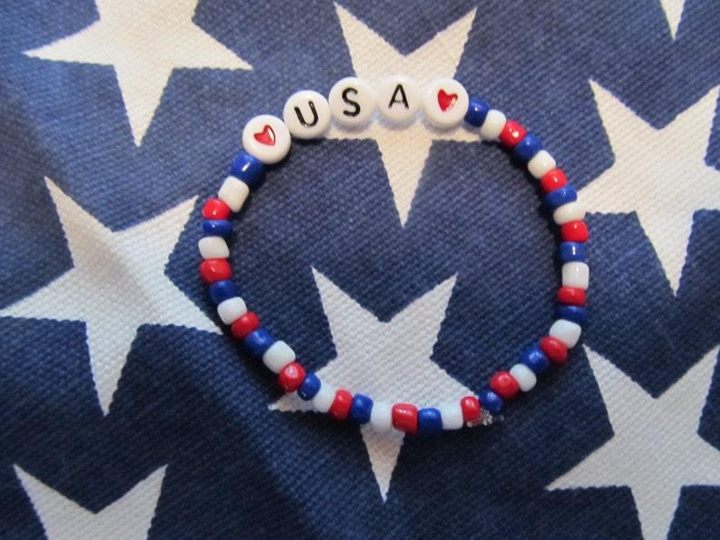 USA Bracelet Birthday Gift Beaded Girls