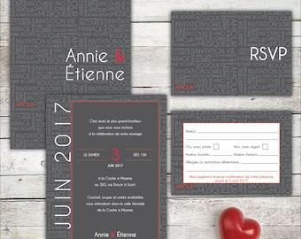Invitation, printable wedding invitation. Invitation + RSVP card