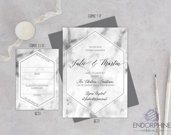 Marble effect wedding invitation printable. Invitation + RSVP card