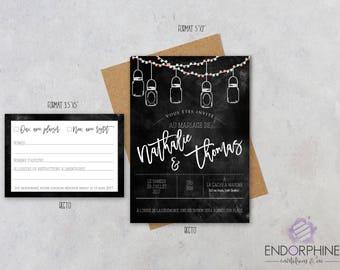 Invitation, faire-part mariage à imprimer de style champêtre | Invitation + Carte RSVP