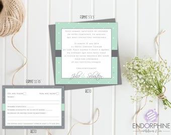 rustic printable wedding invitation. Invitation + RSVP card