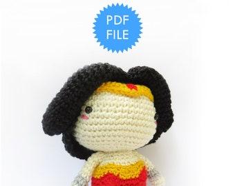 Amigurumi doll crochet pattern, superhero pattern