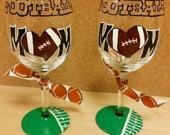Football Mom hand painted wine glass