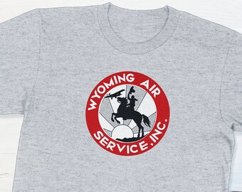 Wyoming Shirt - Vintage Airline Wyoming Air Services Vintage Travel Sticker T-shirt Retro Aviation