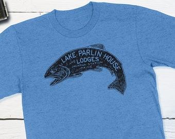 Vintage Maine Fishing Travel - Lake Parlin House & Lodges - Jackman Station Maine Vintage Travel Sticker Retro Luggage Label Fishing Shirt