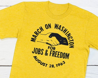 US Civil Rights Shirt - March on Washington for Jobs and Freedom - August 28 1963 - US History Vintage Button Equal Right Shirt
