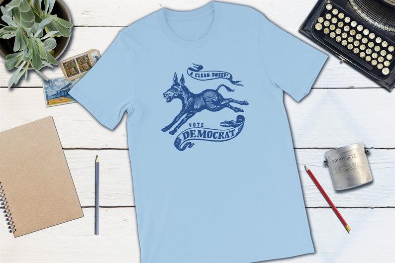 Retro Democrat T-shirt  A Clean Sweep Vote Democrat 1968 Light Blue