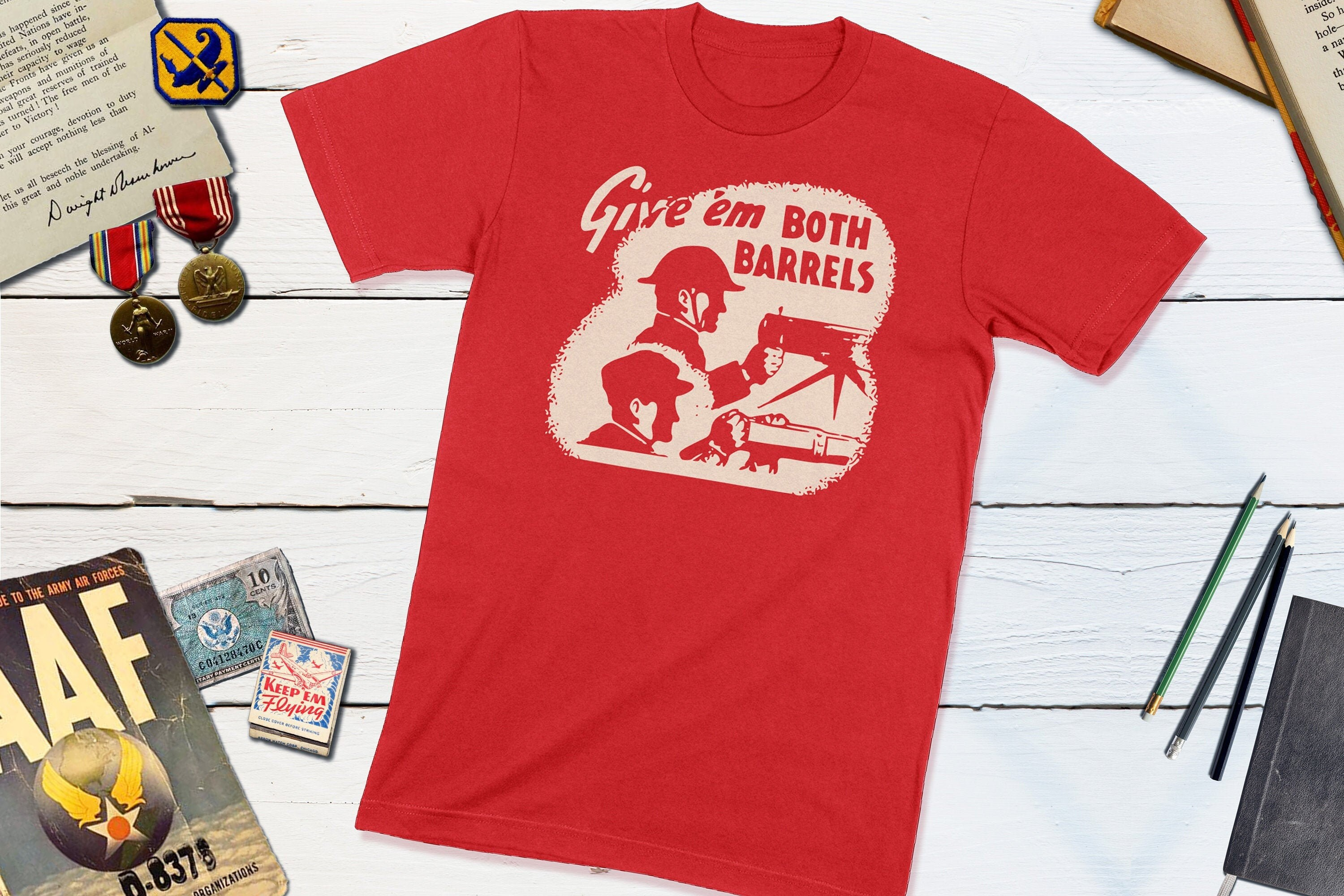 1940s Jewelry Styles and History Wwii Us History World War Ii Poster Giveem Both Barrels Wwii Vintage Matchbook Shirt Wwii Patriotic Gift For Him $24.00 AT vintagedancer.com