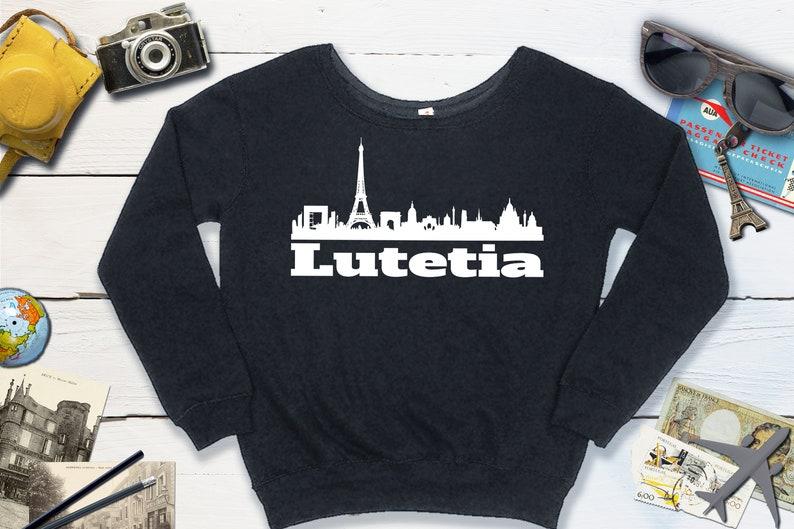 Ancient Roman City Lutetia Slouchy Sweatshirt  Paris France Black