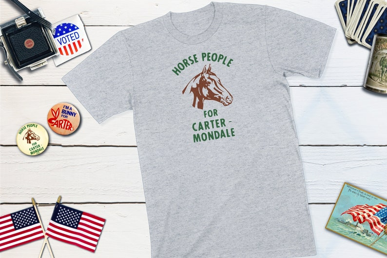 Retro Political Campaign Button  Horse People For Carter & Grey