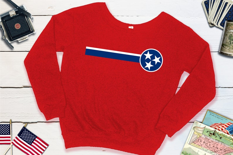 Tennessee Slouchy Sweatshirt  Tennessee State Flag Sweater  Red