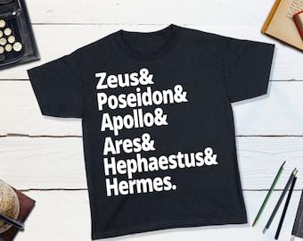 Greek Mythology Kids Shirt - Ancient Greek Gods T-shirt Zeus, Poseidon, Apollo, Ares, Hephaestus, Hermes Greek Myths Olympians Percy Jackson