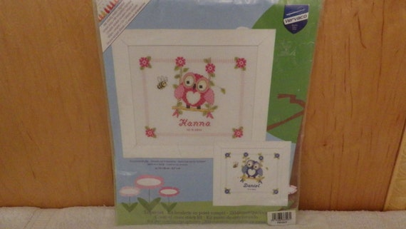 VERVACO IN THE WOODS BIRTH SAMPLER BABY RECORD COUNTED CROSS STITCH KIT