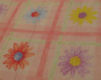 Vintage Colorful Daisies Twin comforter and pillow sham