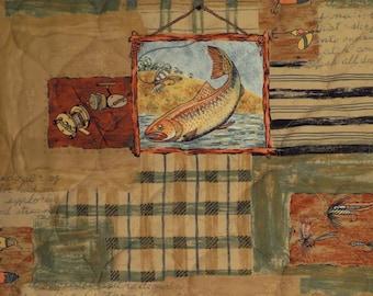 Vintage Freshwater Fish Twin bedspread