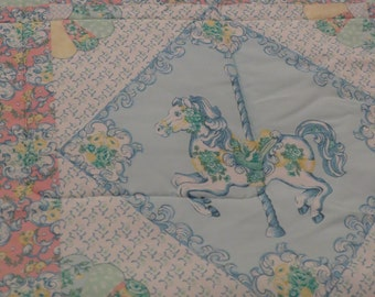 Vintage Carousel Animals twin comforter and pillow sham
