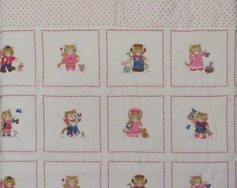 Vintage Kitties and Hearts small quilted blanket