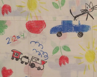 Vintage Children's crayon style drawings valance