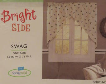 Vintage Springmaid Southwest swag curtain set -New in Package